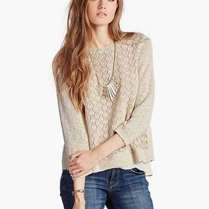 LUCKY BRAND Mixed Media Layered Look Pullover [B6]